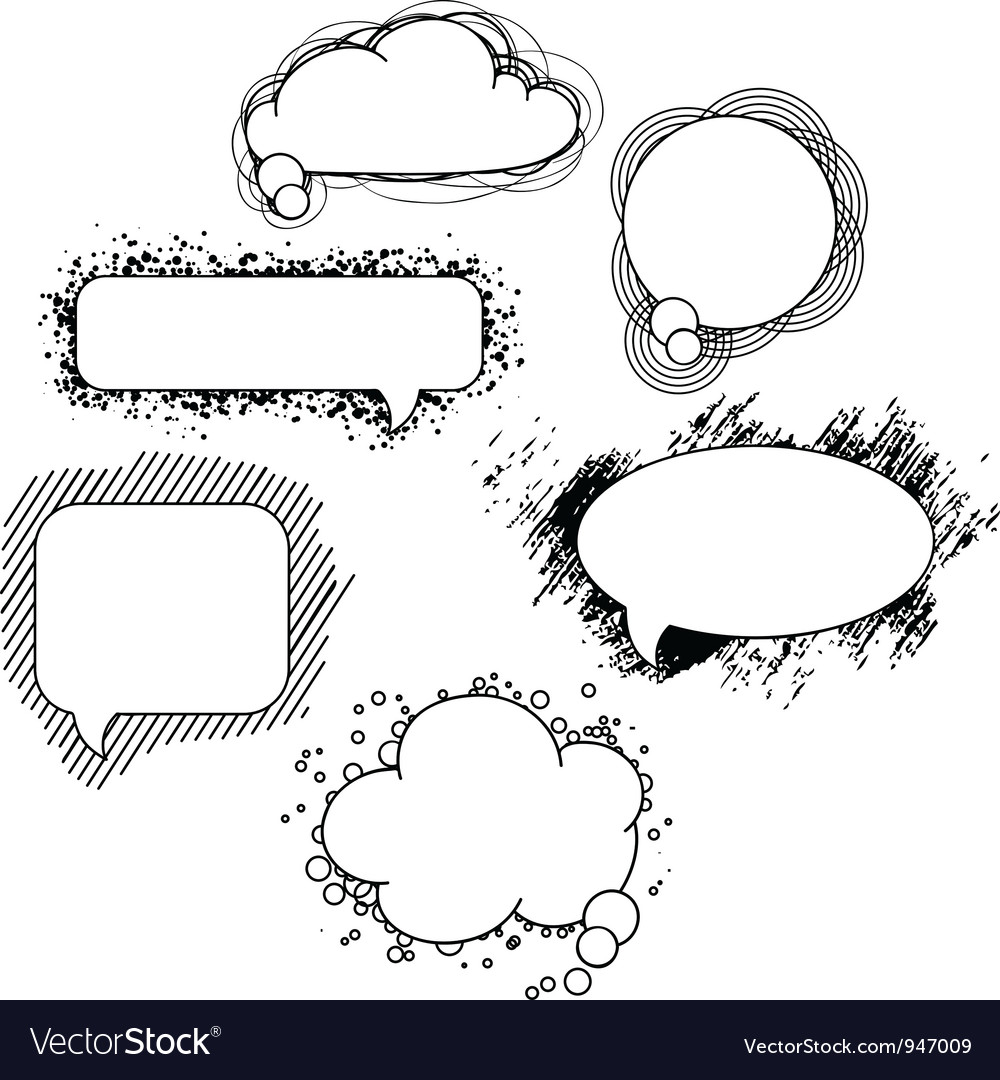 Drawn speech bubbles set vector