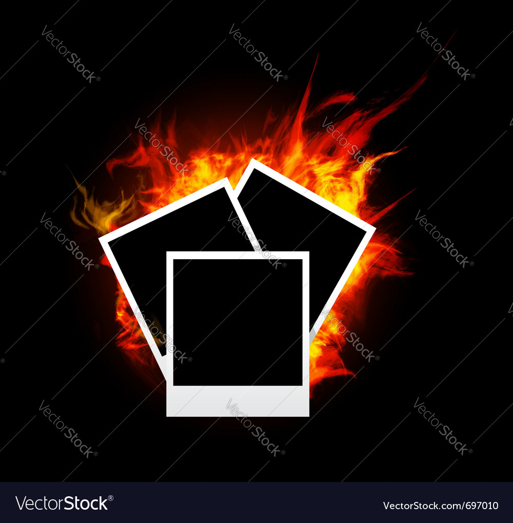 Burning photo frame vector
