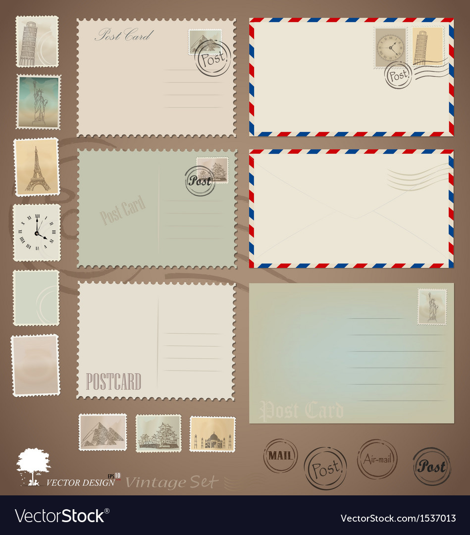 Set vintage postcard designs envelopes and stamps vector