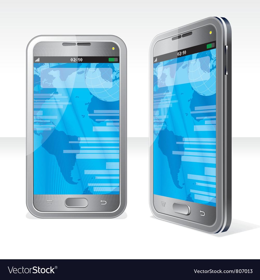 Silver phones vector