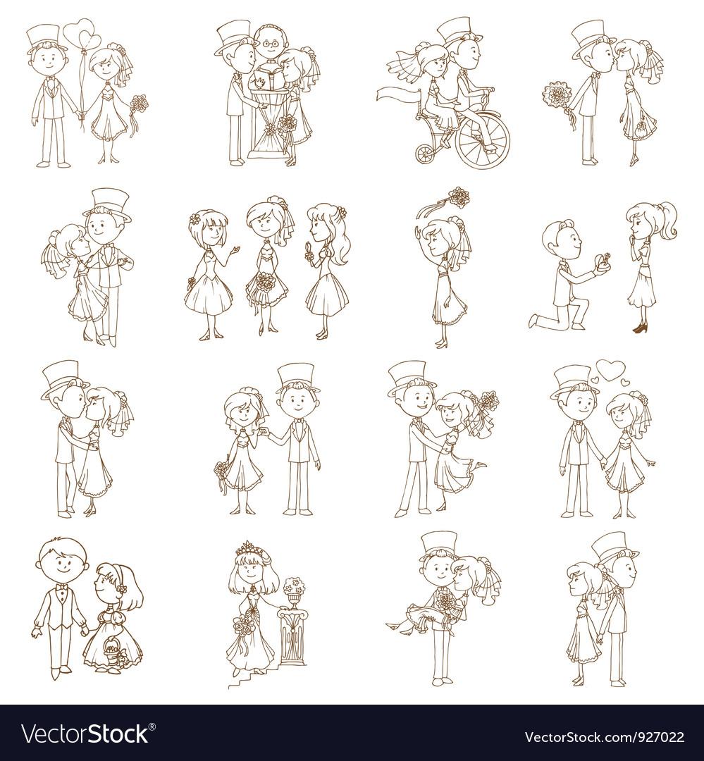 Wedding doodles vector