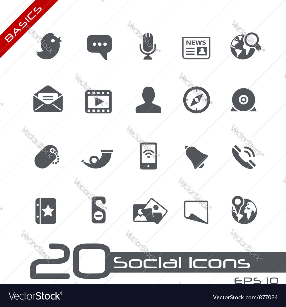 Social media basics series vector
