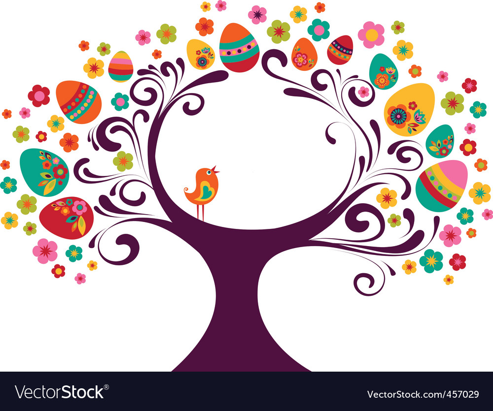 Easter eggs on tree vector