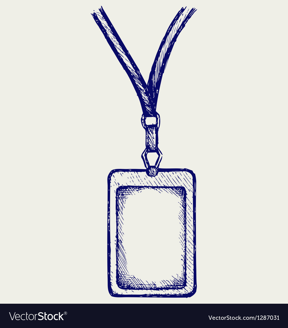 Blank badge with neckband vector