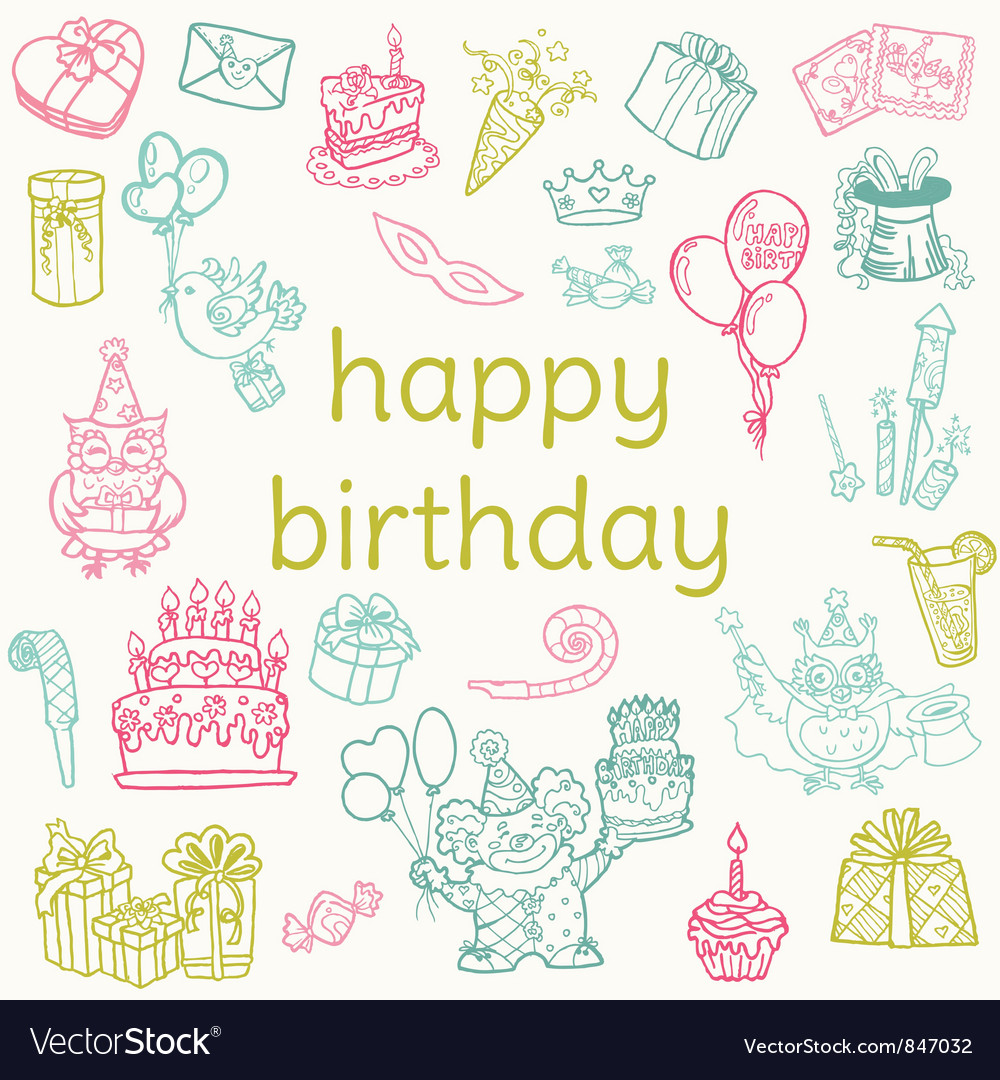 Birthday card  with hand drawn elements vector