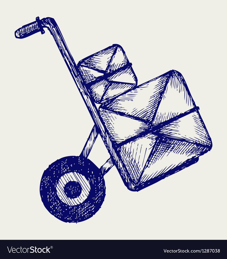 Hand truck with post packages vector