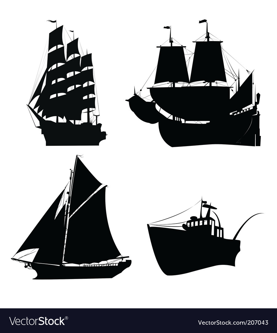 Ships silhouette vector