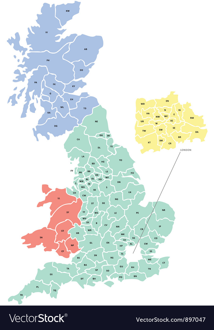Postcode map of uk vector