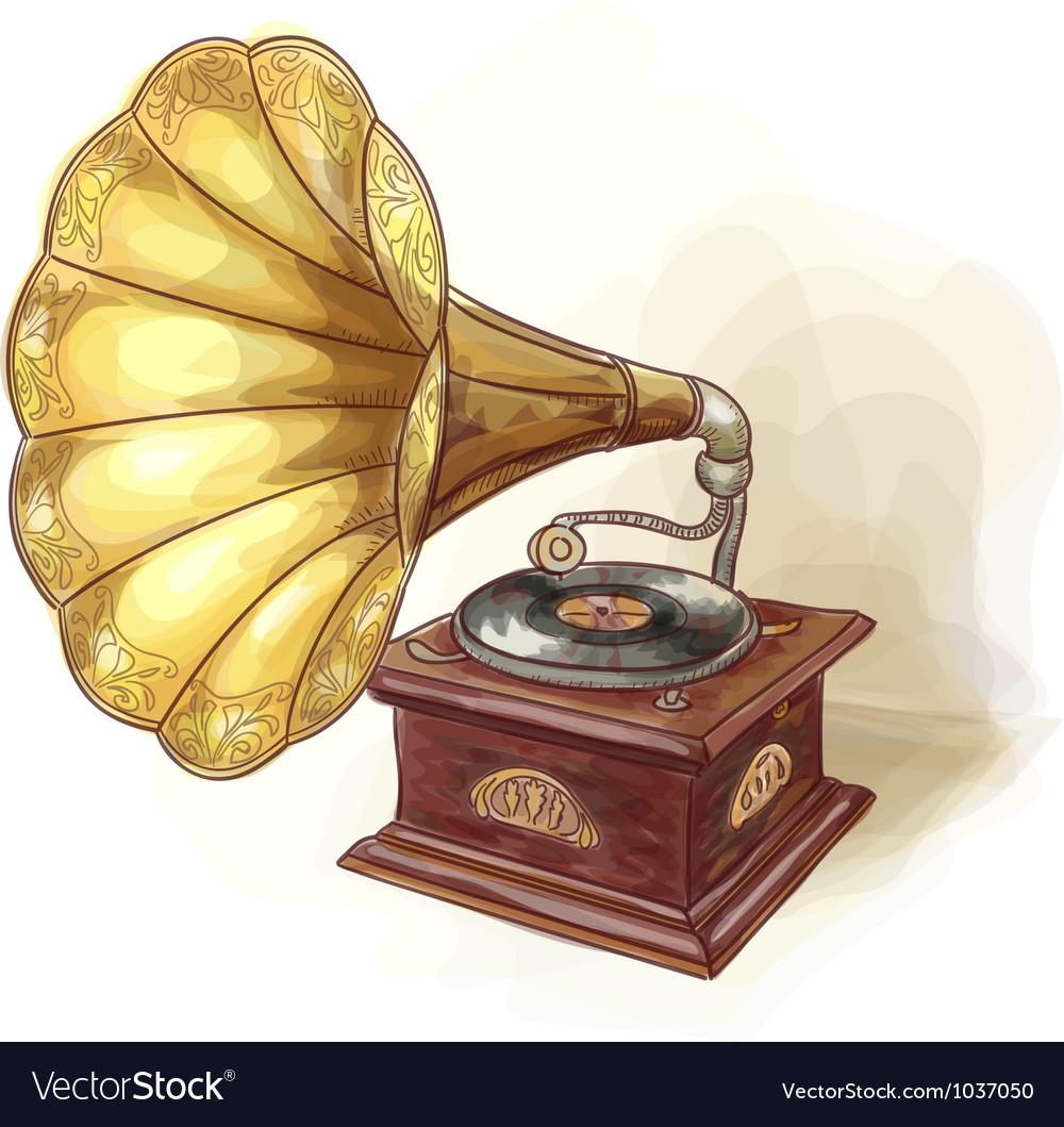 Vintage gramophone wtercolor imitation vector