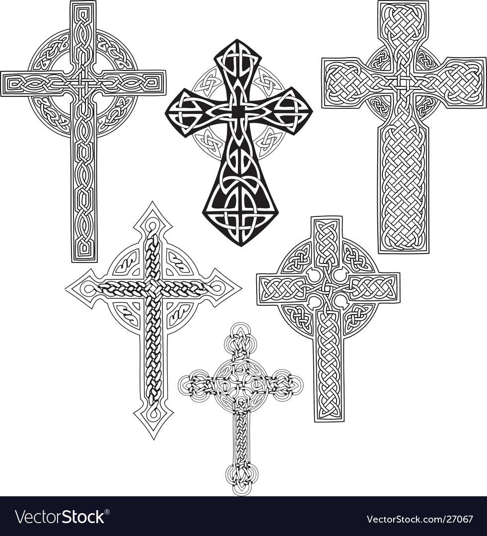 Medieval crosses vector