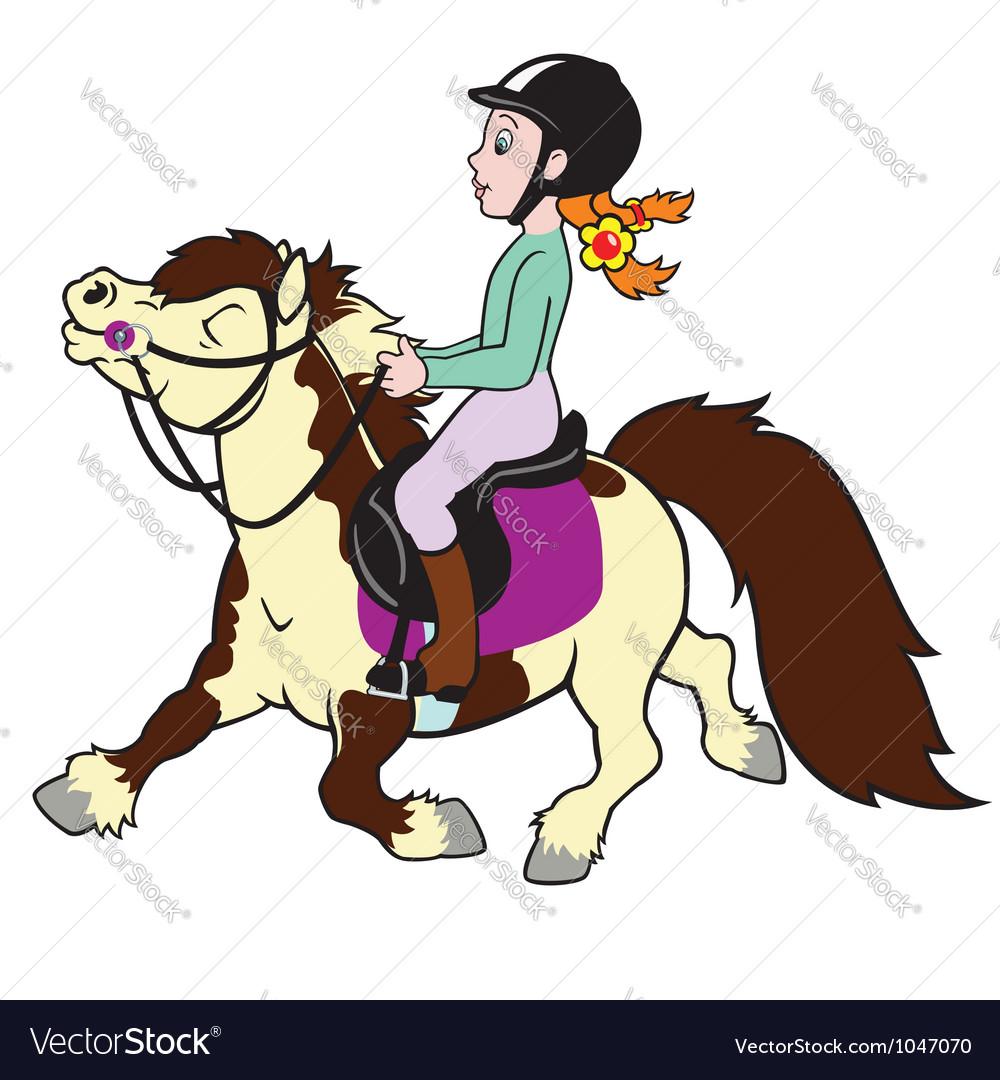 Girl riding pony vector