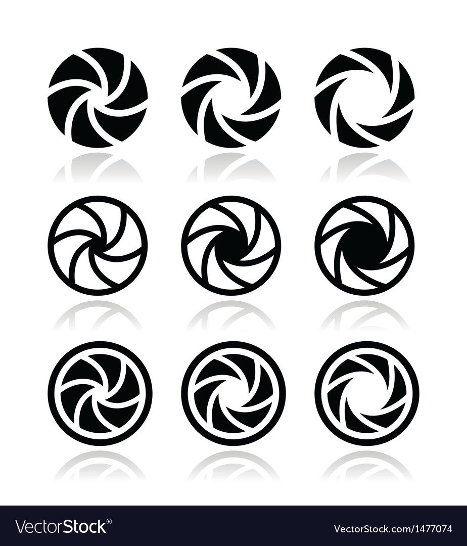 Camera shutter aperture icons set vector