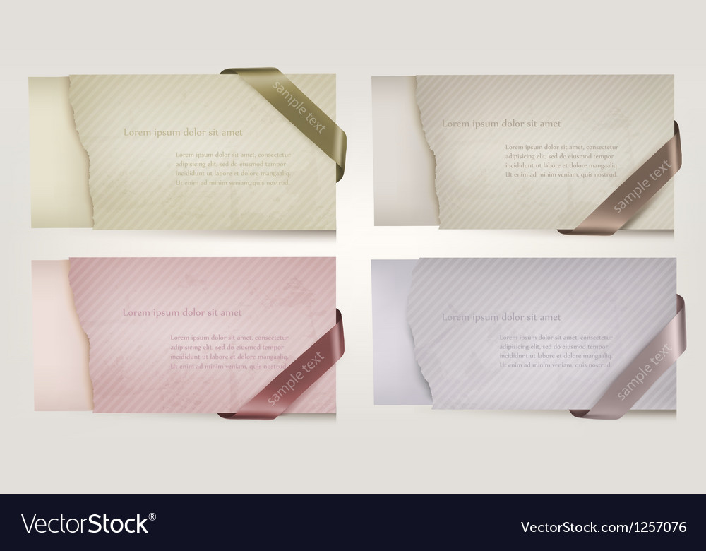 Set of color old paper banners with sale ribbons vector