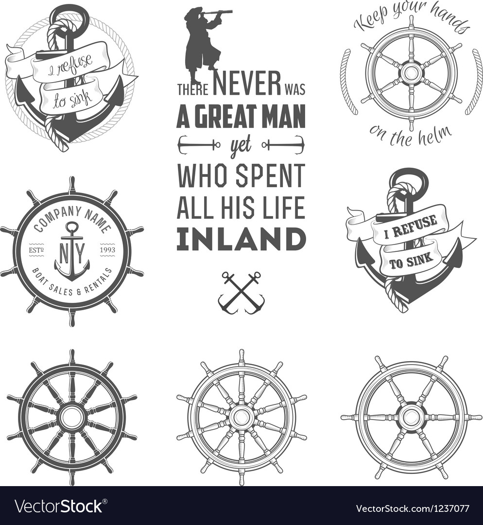 Set of nautical labels icons and design elements vector