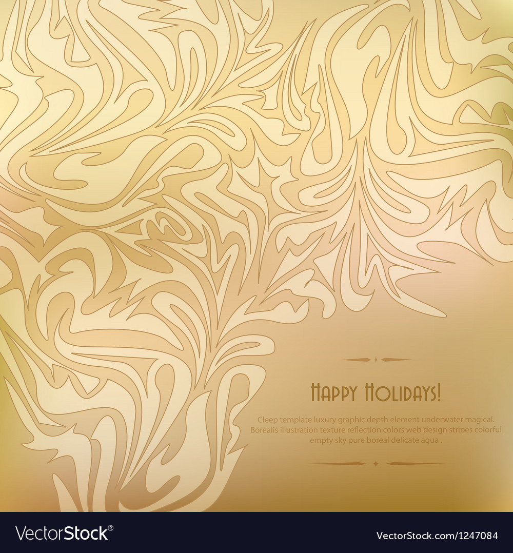 Golden vintage background with abstract pattern vector