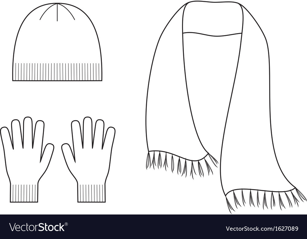 Scarf Outline Cap gloves scarf vector