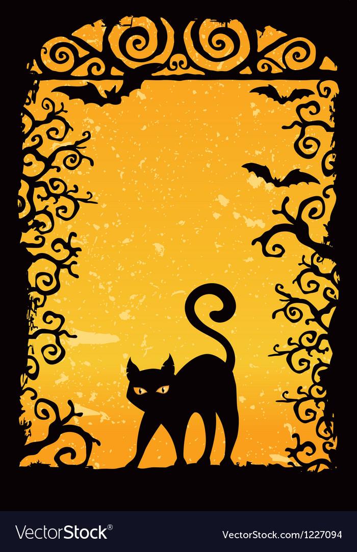 Cute black kitten vector