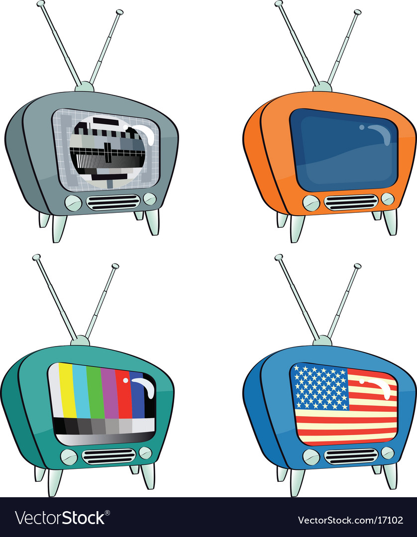 Old-style televisions vector