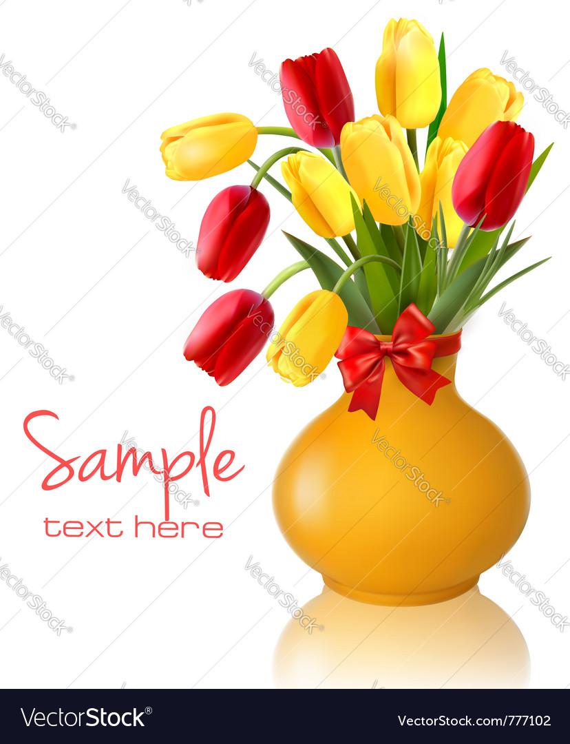 Spring flowers vase vector