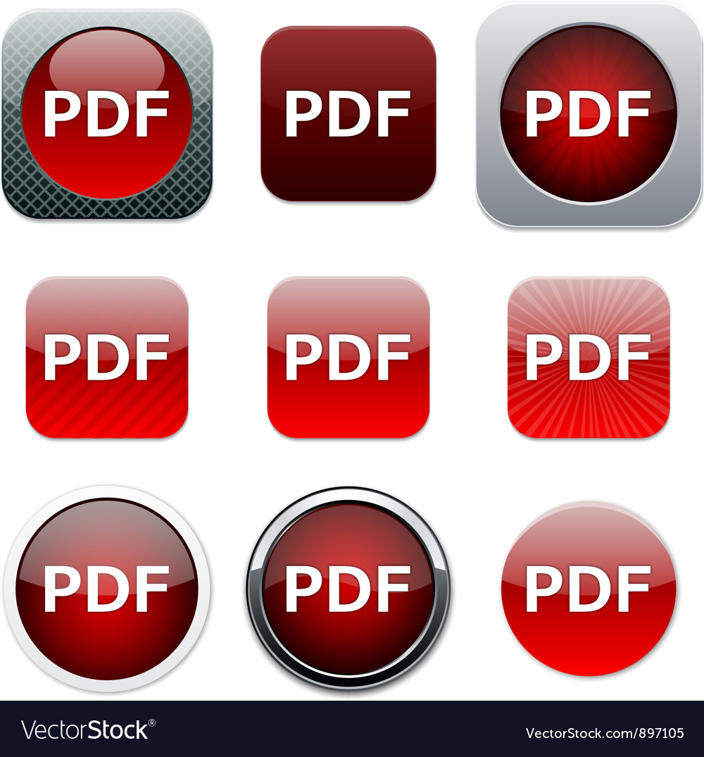 Pdf red app icons vector
