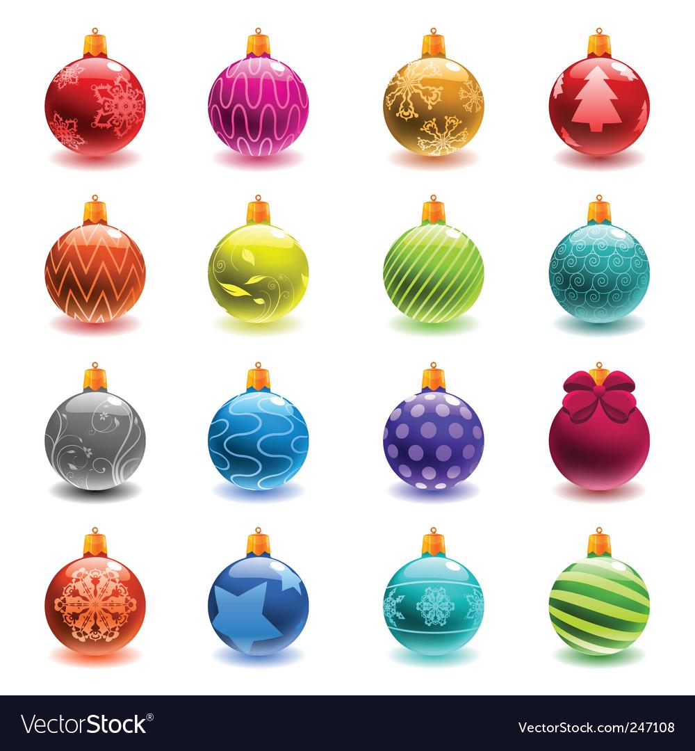 Christmas ball set vector