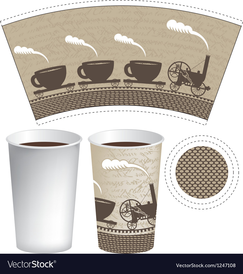 Pattern paper cup vector