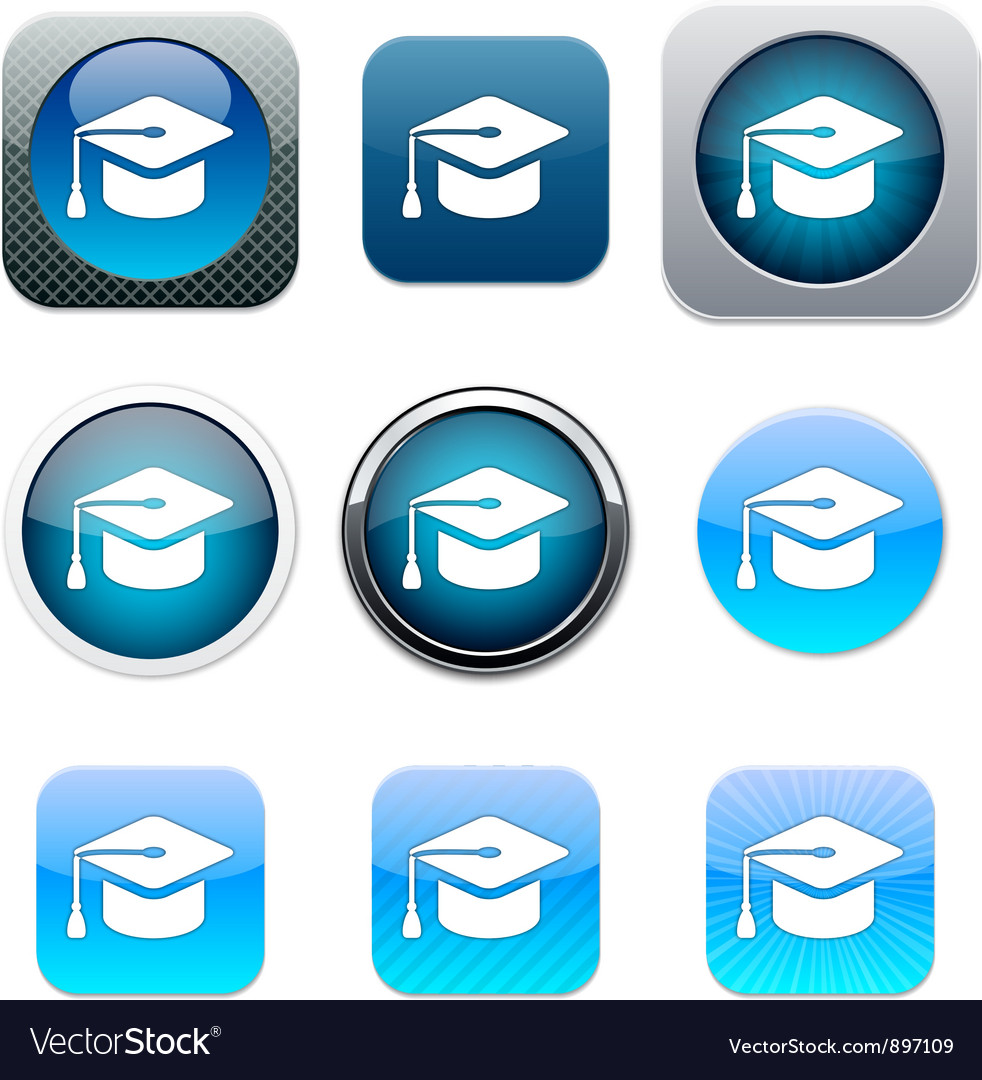 Graduation blue app icons vector