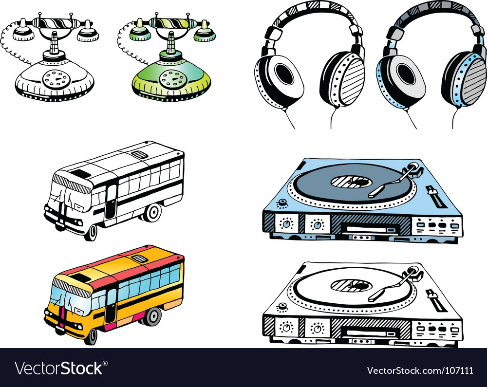 Some hand drawn devices vector
