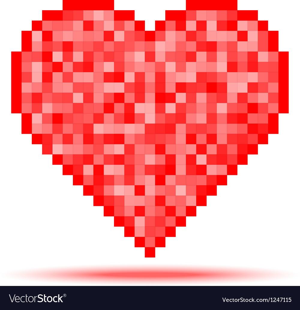 Heart pixel icon vector
