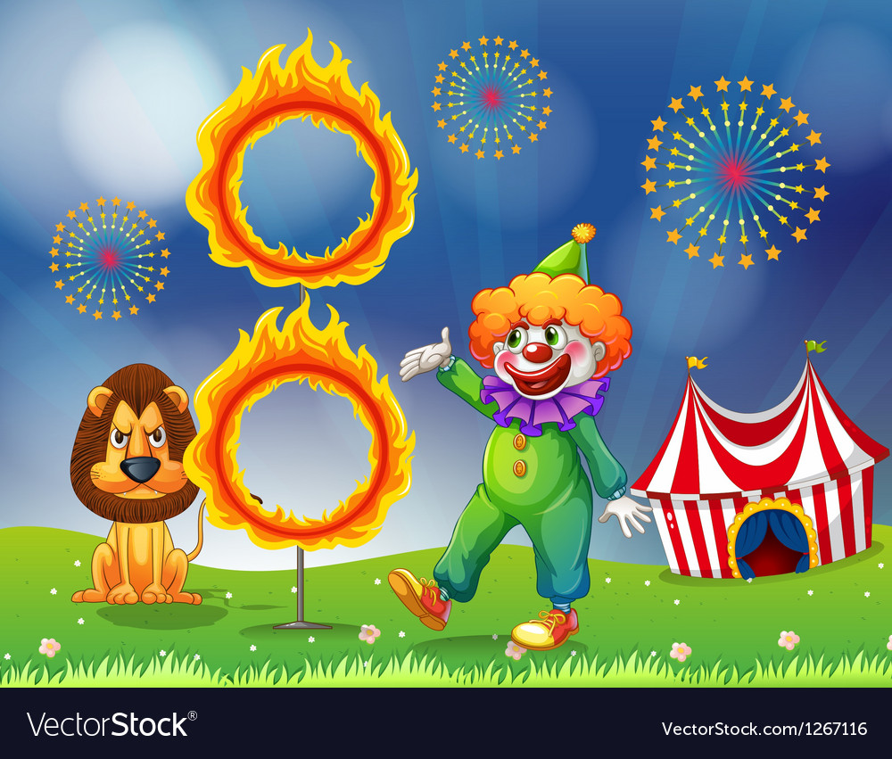 A lion and a clown performing vector