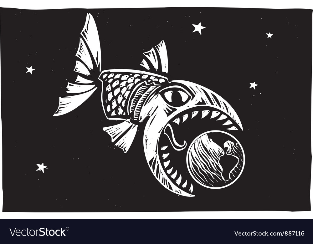 Fish eating earth vector