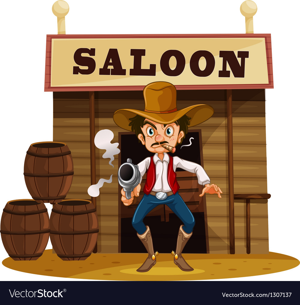 A man holding a gun outside the saloon bar vector