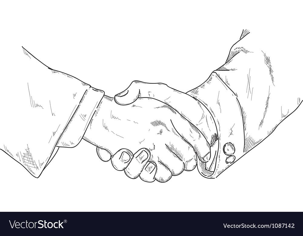 Hands shake vector