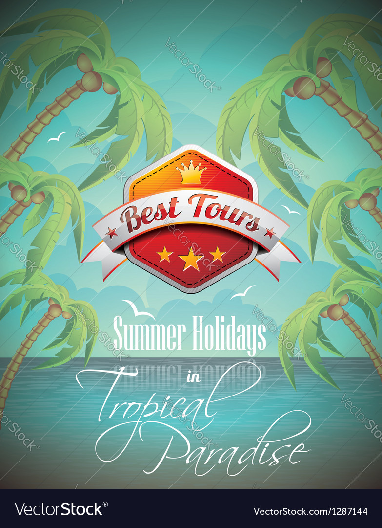 Summer holiday flyer design with palm trees vector