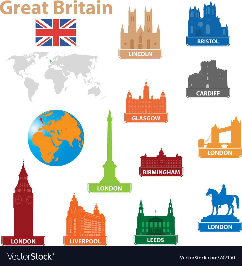Symbols city to great britain vector
