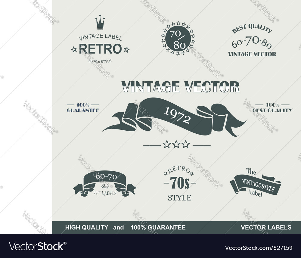 Labels retro vector