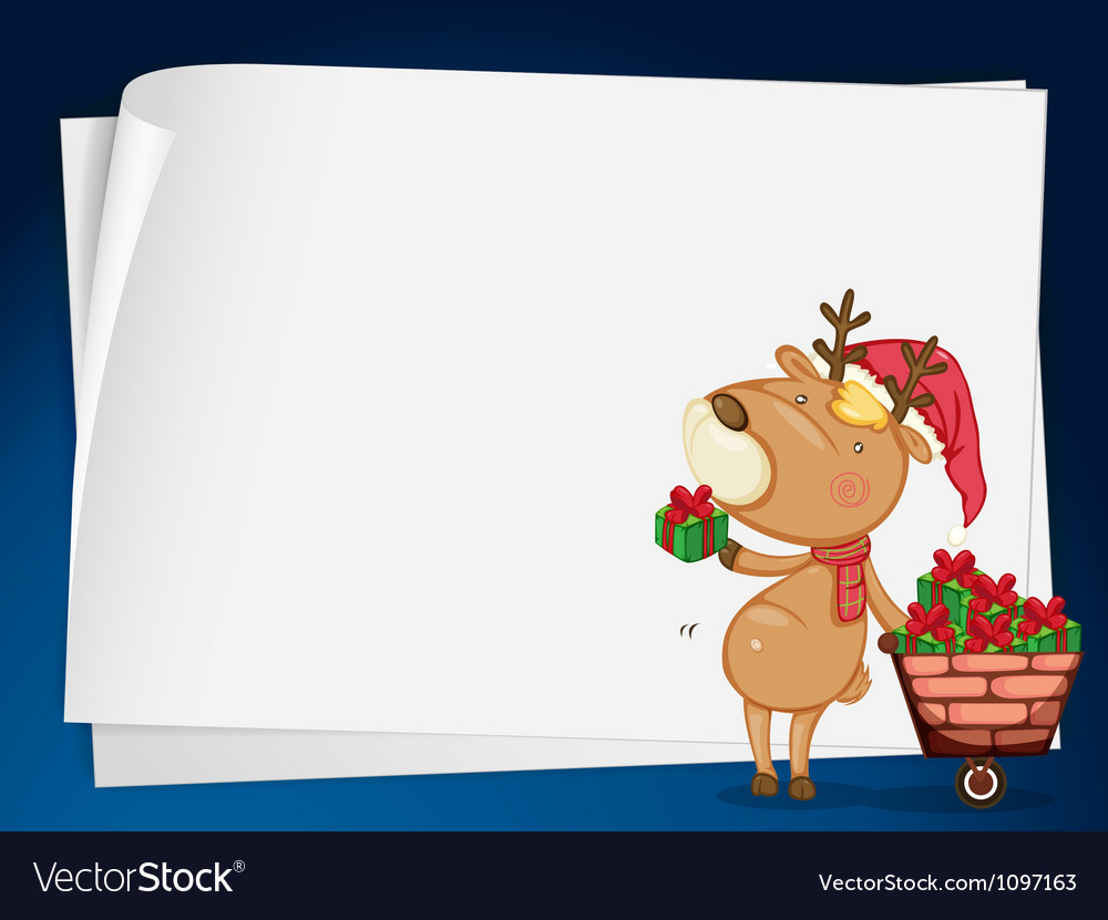 Paper sheets and reindeer vector