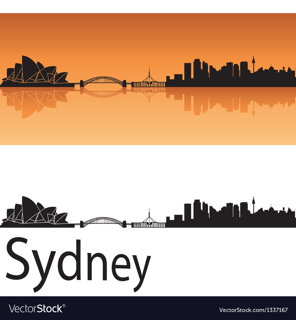 Sydney skyline in orange background vector