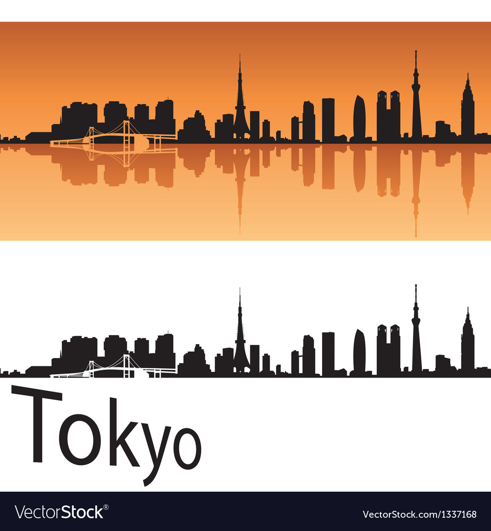 Tokyo skyline in orange background vector
