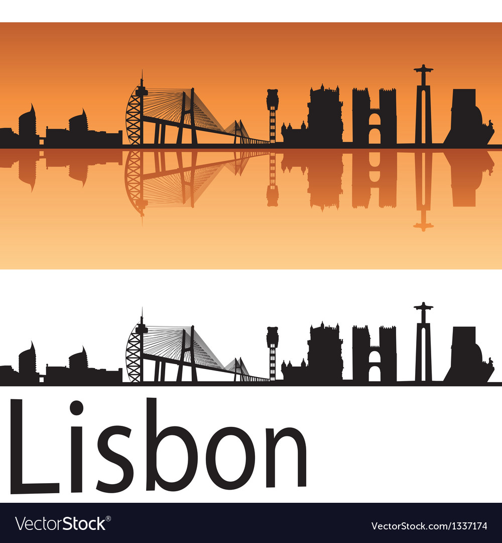 Lisbon skyline in orange background vector