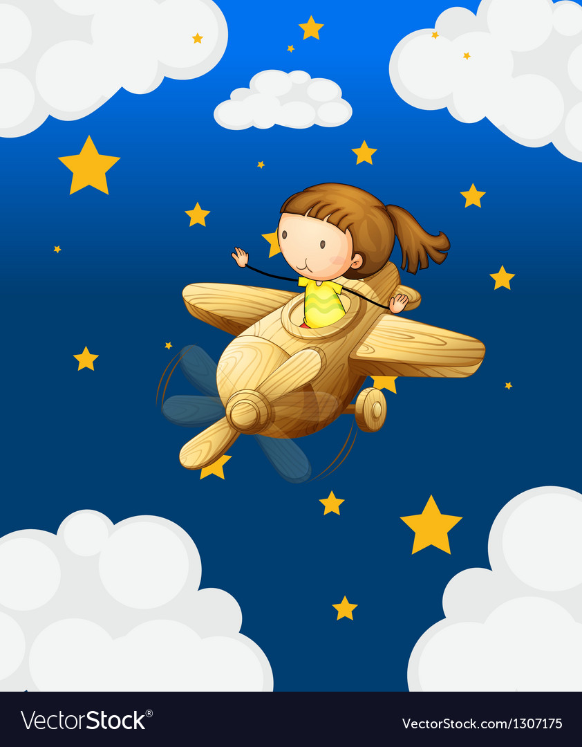 A girl riding in a wooden plane vector