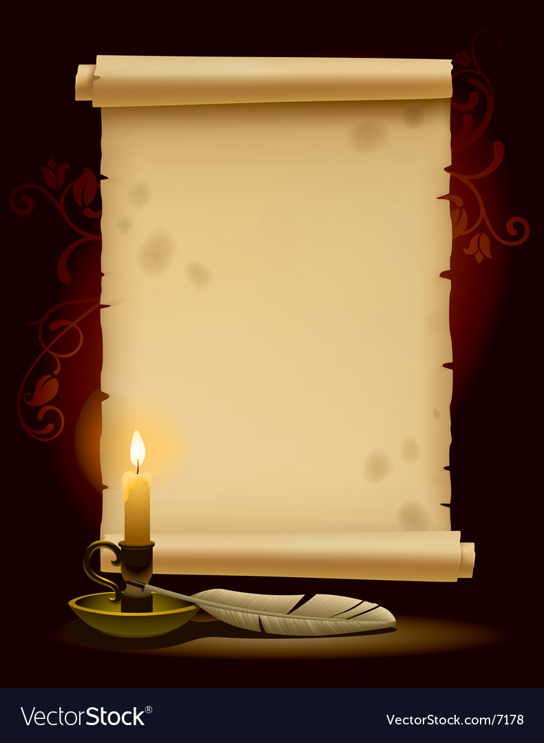 Old parchment with a light vector