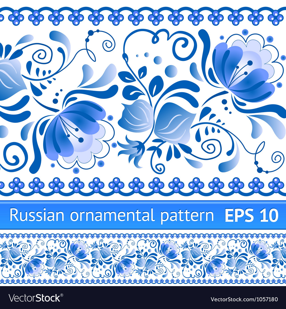 Russian national blue floral pattern vector