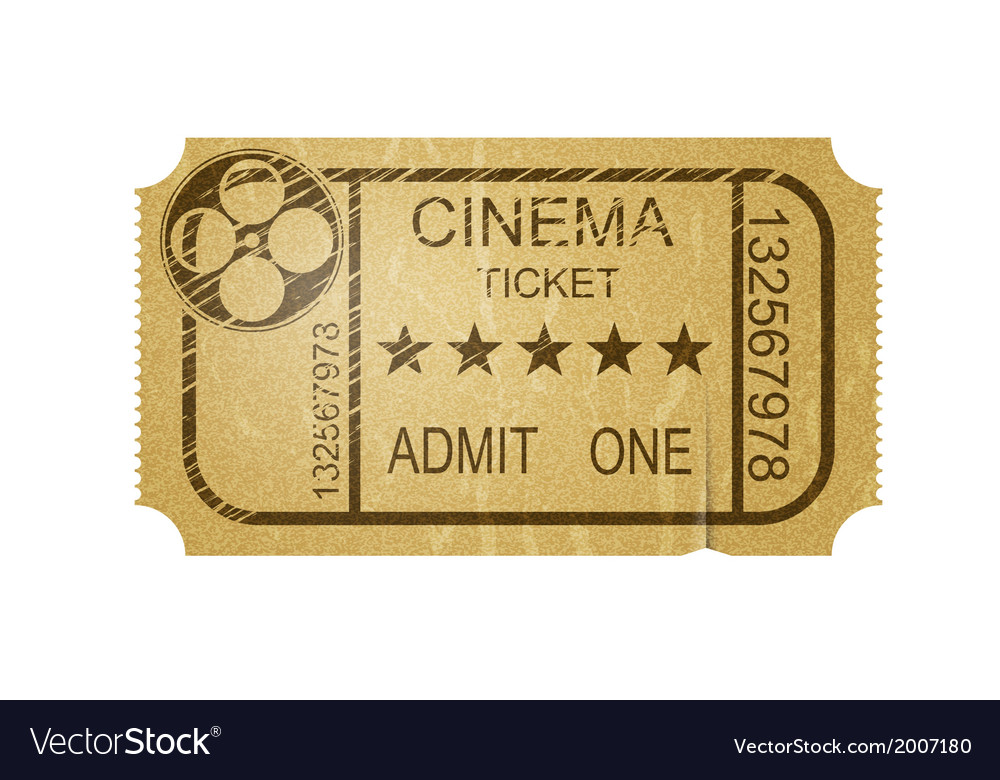 Vintage cinema ticket with grunge vector