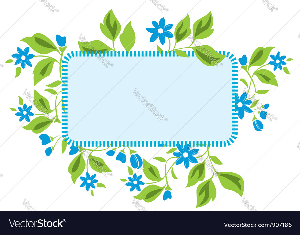 Light blue frame with flora vector