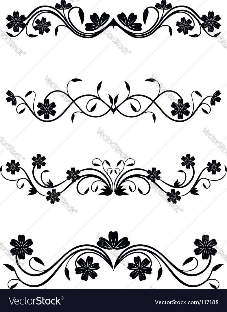 Vintage floral decorations vector art - Download Floral vectors