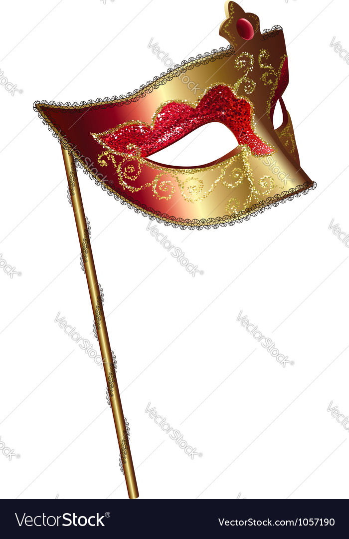 Carnival mask with handle vector
