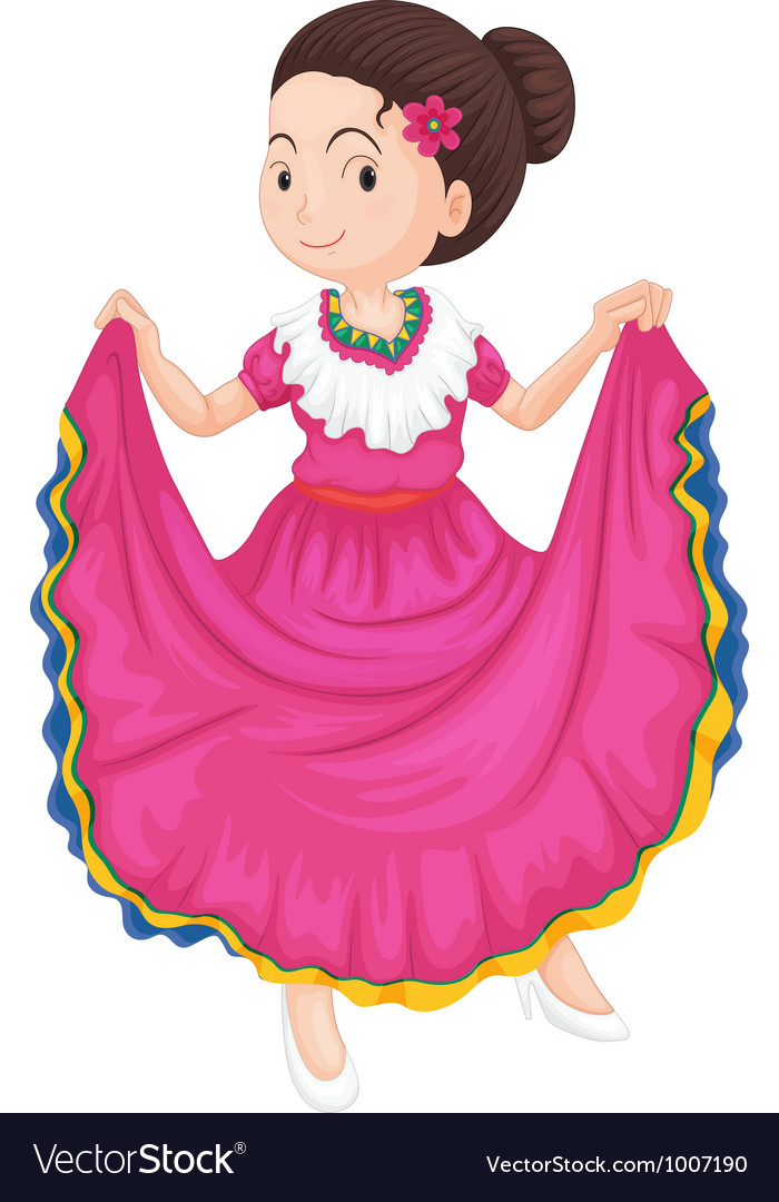 Female traditional mexcian dress vector