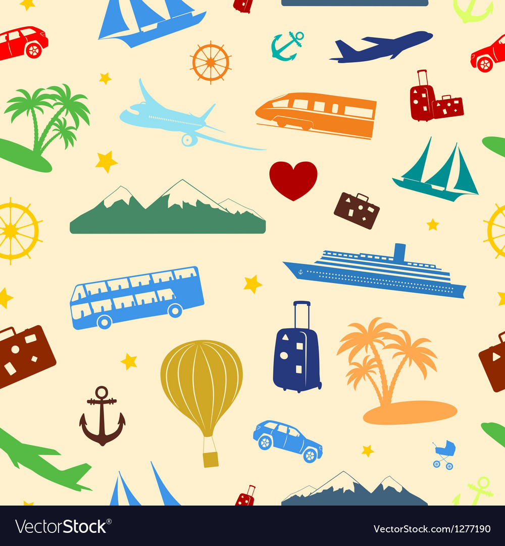 Seamless colored pattern on travel and tourism vector