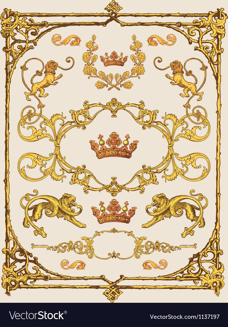Heraldic design elements vector